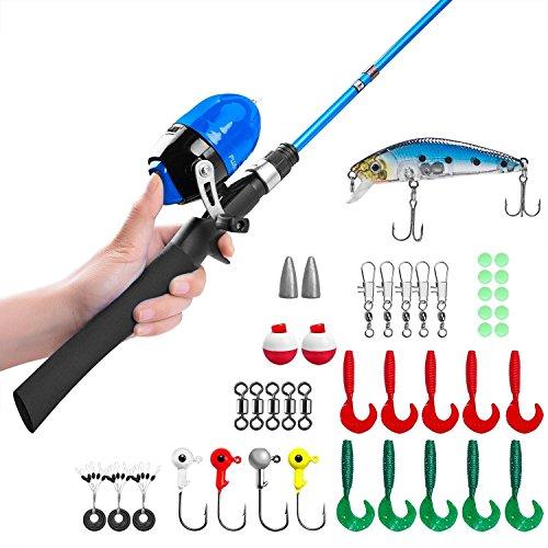 Canne à pêche pour enfants, Canne à pêche télescopique et Combos à moulinet avec moulinet de pêche Spincast et String avec ligne de pêche (Noir-1.5 M)