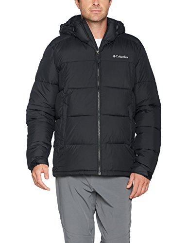 Columbia Veste d'Hiver Imperméable Homme, PIKE LAKE HOODED JACKET, polyester, Noir, Taille M, WO0020