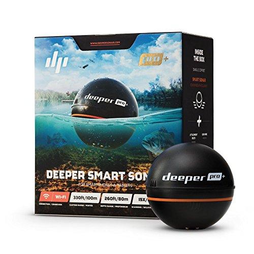Deeper PRO PLUS Sondeur - Portable et sans fil Wi-Fi avec GPS intégré pour la pêche depuis le rivage