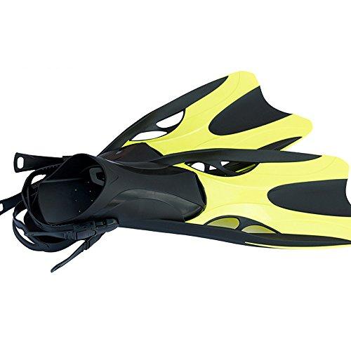HJL&XD Palmes réglables de pédale de plongée de formation de natation d'adulte de plongée de plongée (Jaune, S/M)