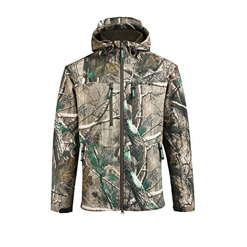 SAENSHING Homme Manches Longue à Capuche Camouflage Softshell Veste imperméable Respirant pour Camping Chasse pêche(L)
